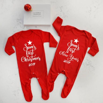 Personalised First Christmas And First New Year's Set